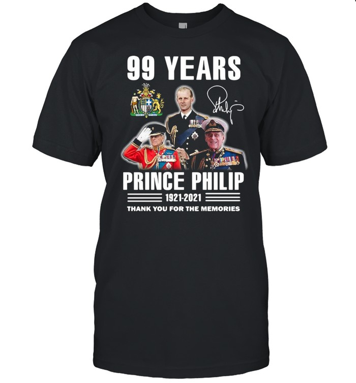 99 years Prince Philip 1921 2021 thank you for the memories signature shirt Classic Men's T-shirt