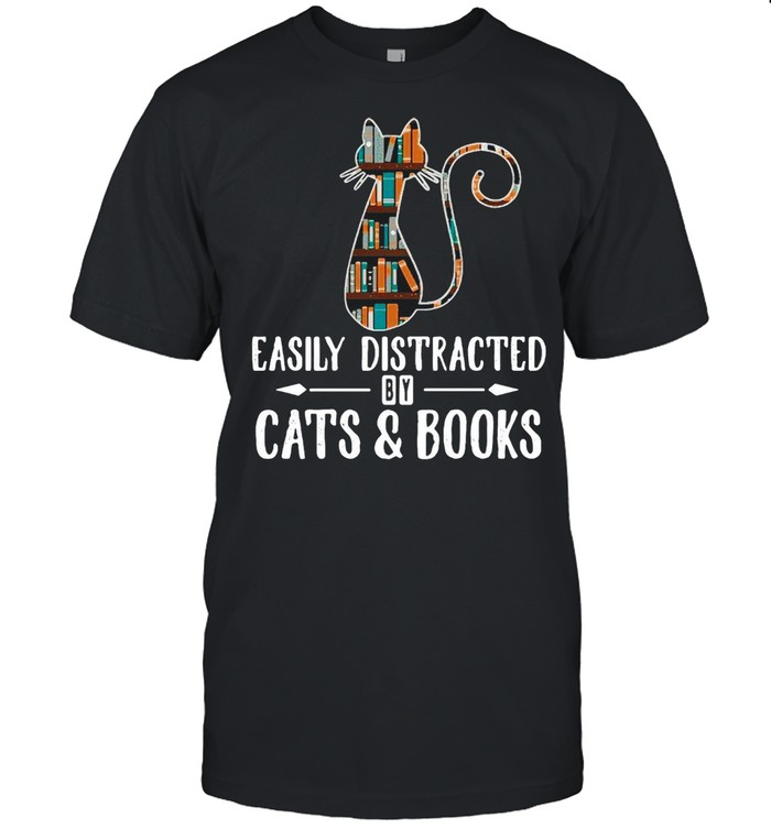 Cat Easily Distracted By Cats And Books T-shirt Classic Men's T-shirt