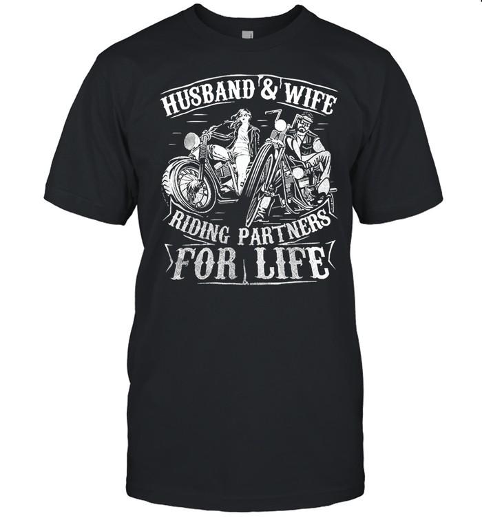 Husband wife riding partners for life matching couple biker shirt Classic Men's T-shirt