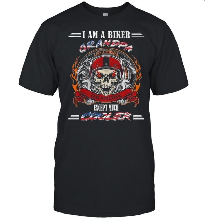 Skull I am biker grandpa except much cooler shirt Classic Men's T-shirt