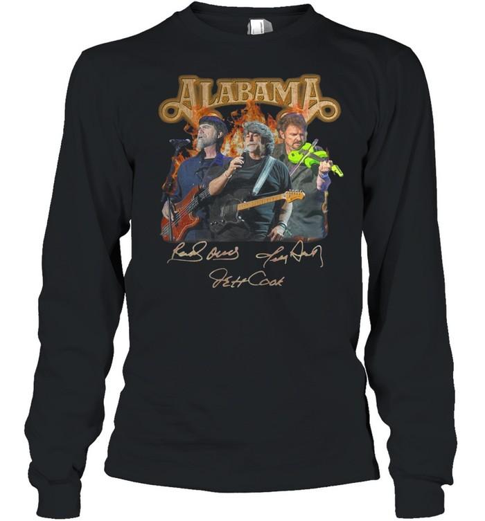 Alabama band Randy Owen Jeff Cook Teddy Gentry sign shirt Long Sleeved T-shirt