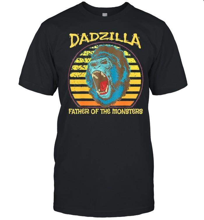 Dadzilla Retro Sunset Gorilla Father Of The Monsters shirt Classic Men's T-shirt