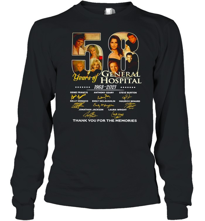 58 Years Of General Hospital 1963 2021 Signatures Thank You For The Memories shirt Long Sleeved T-shirt