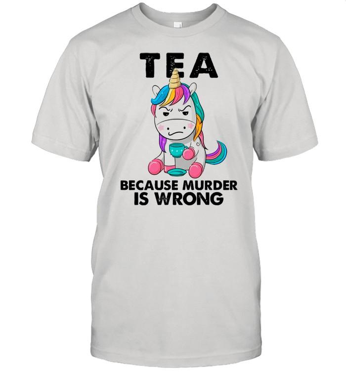 Unicorn Drink Tea Because Murder Is Wrong shirt Classic Men's T-shirt