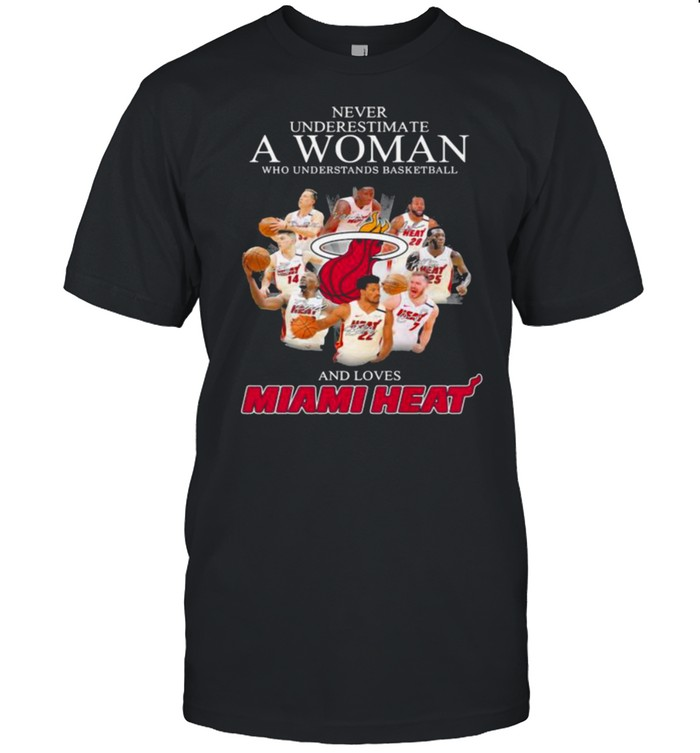 Never Underestimate A Woman Who Understands Basketball And Loves Miami Heat Signature  Classic Men's T-shirt