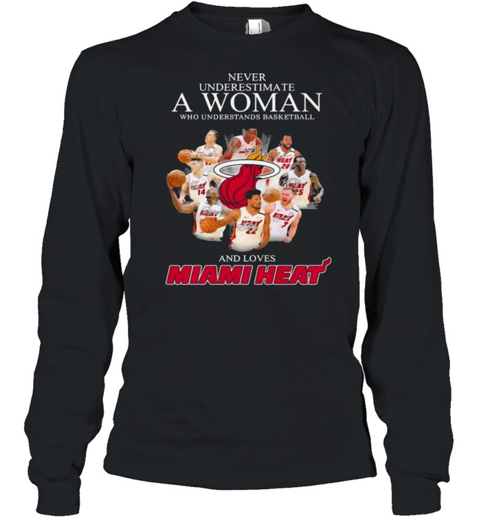 Never Underestimate A Woman Who Understands Basketball And Loves Miami Heat Signature Long Sleeved T-shirt