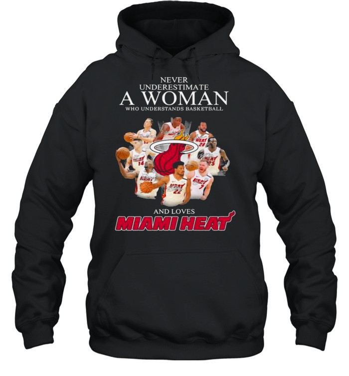 Never Underestimate A Woman Who Understands Basketball And Loves Miami Heat Signature Unisex Hoodie