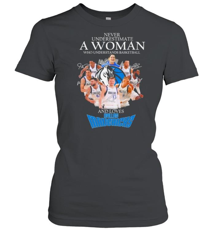 Never underestimate a woman who understands basketball and loves dallas mavericks shirt Classic Women's T-shirt