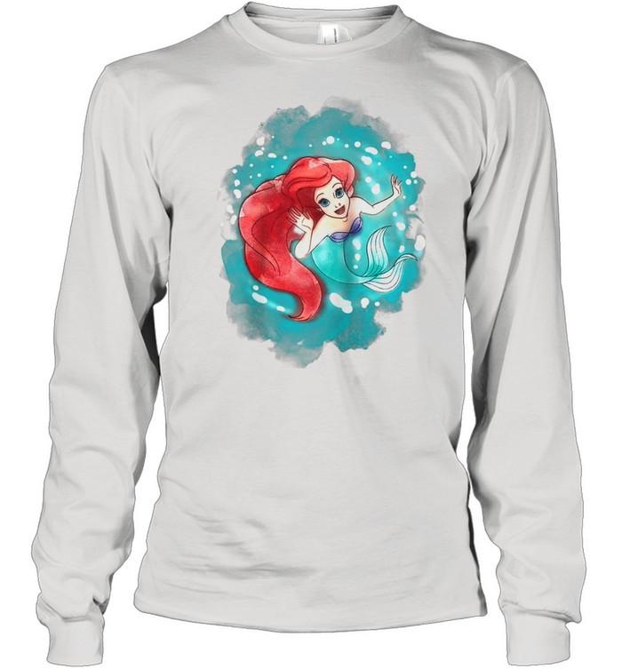 The Little Mermaid Ariel Watercolor Swimming shirt Long Sleeved T-shirt