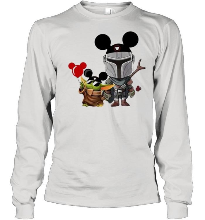 The Mandalorian Baby Yoda Mickey  Long Sleeved T-shirt