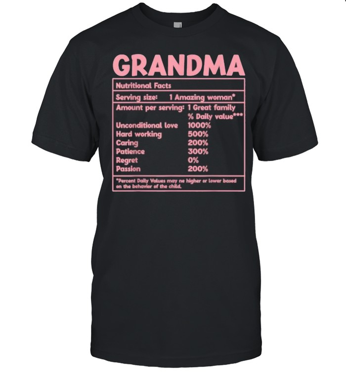 Grandma Nutritional Facts red Funny Mother Day T- Classic Men's T-shirt