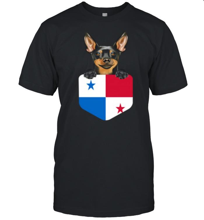 Panama Flag Miniature Pinscher Dog In Pocket shirt Classic Men's T-shirt