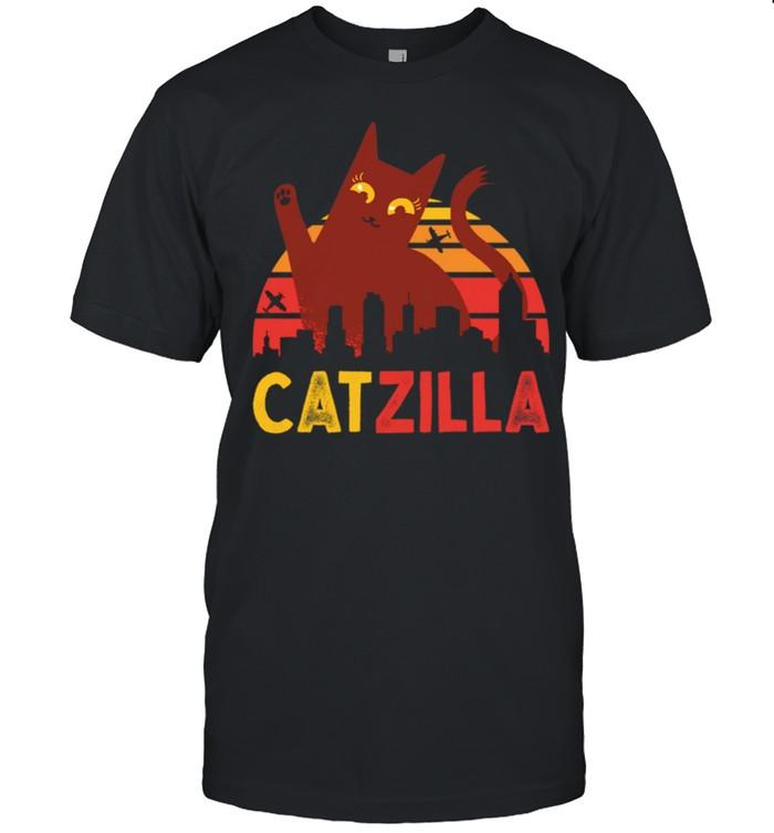 Vintage Catzilla Japanese Sunset Style Cat Kitten shirt Classic Men's T-shirt