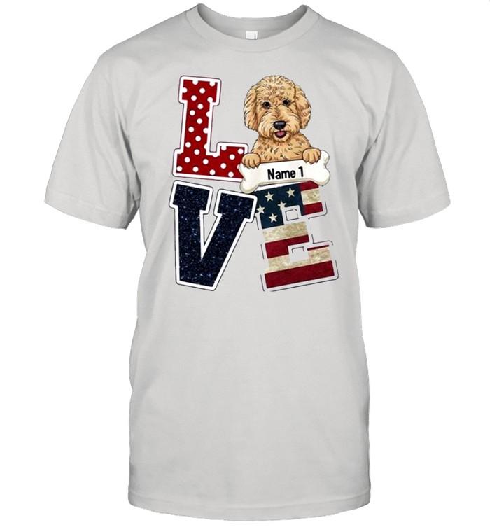 Personalized Love Dog American Flag shirt Classic Men's T-shirt
