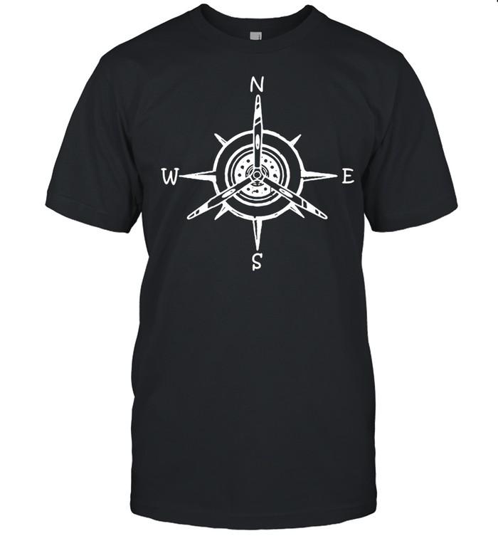 Airplane Compass Aircraft Propeller Prop Aviation  Classic Men's T-shirt