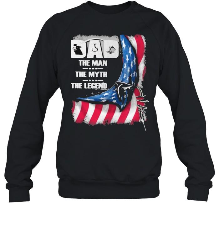 Dad The Man The Myth And The Legend American Flag  Unisex Sweatshirt