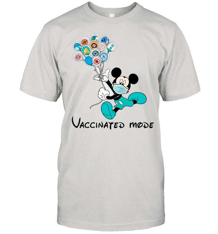 Disney Mickey Mouse Face Mask Vaccinated Mode shirt Classic Men's T-shirt