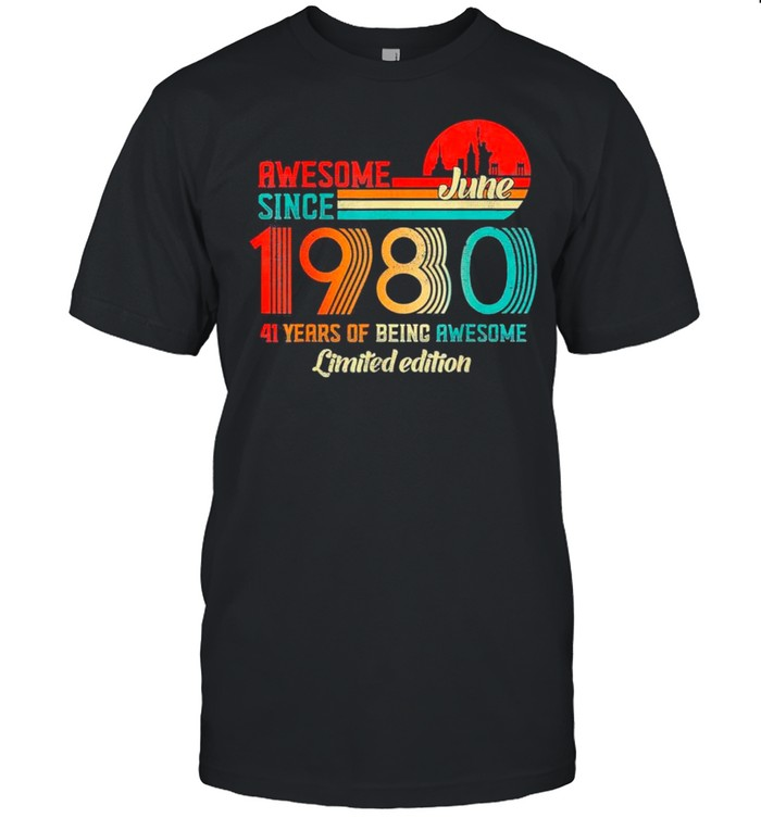 Awesome Since June 1980 41 Years Old Born June 1980 Vintage shirt Classic Men's T-shirt