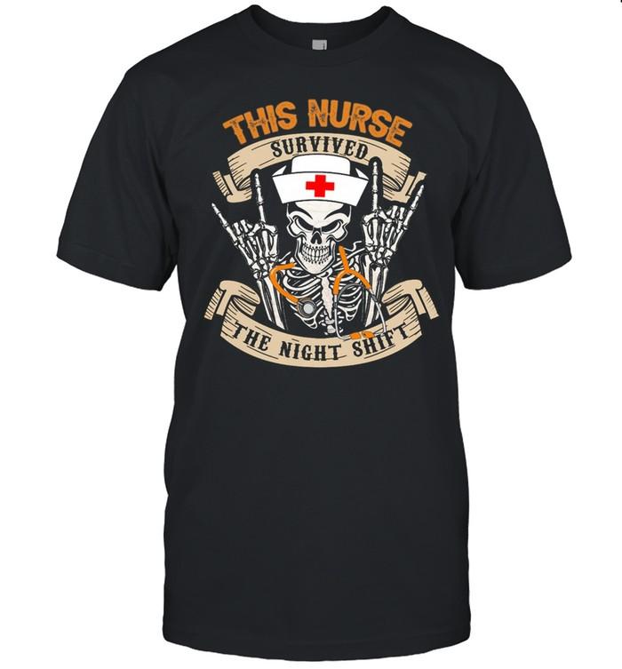 Skull this nurse survived the night shift shirt Classic Men's T-shirt