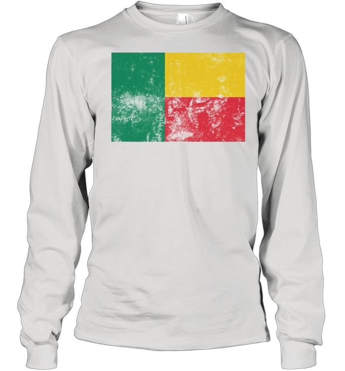 Retro Vintage Style Benin Flag Pride shirt Long Sleeved T-shirt