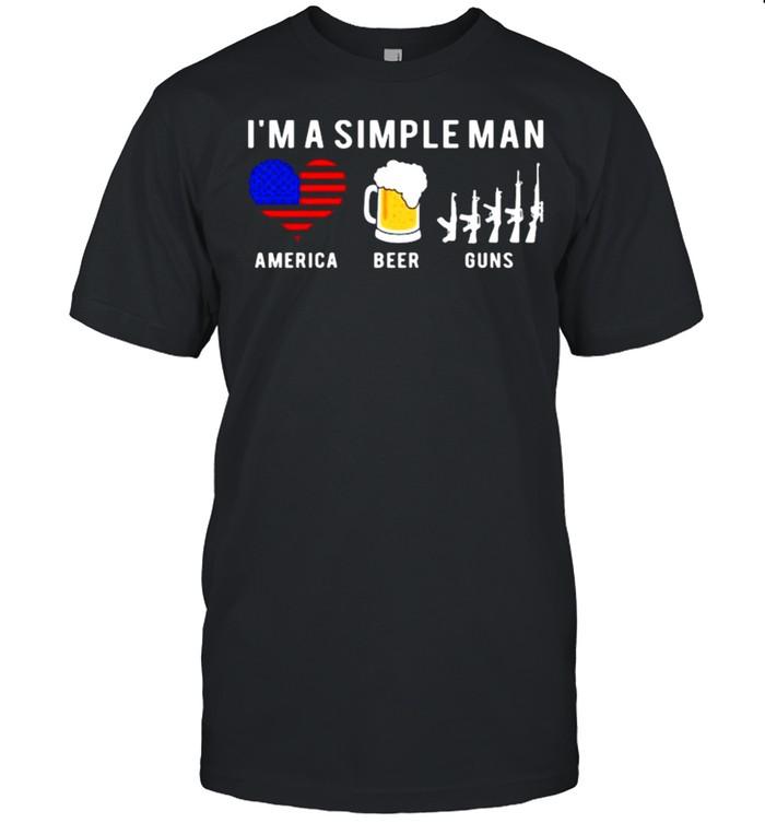 Im a simple man heart america beer guns shirt Classic Men's T-shirt