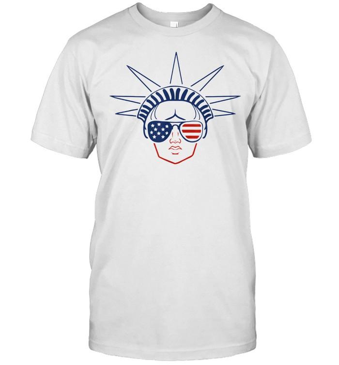 US Flag Statue of Liberty Sunglasses Apparel July 4th Party shirt Classic Men's T-shirt
