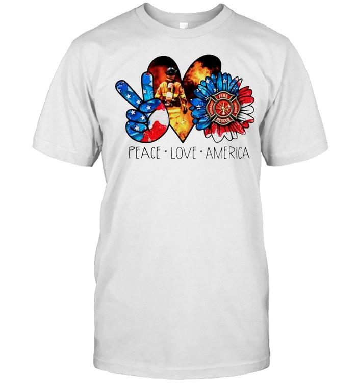 Peace love America firefighter shirt Classic Men's T-shirt