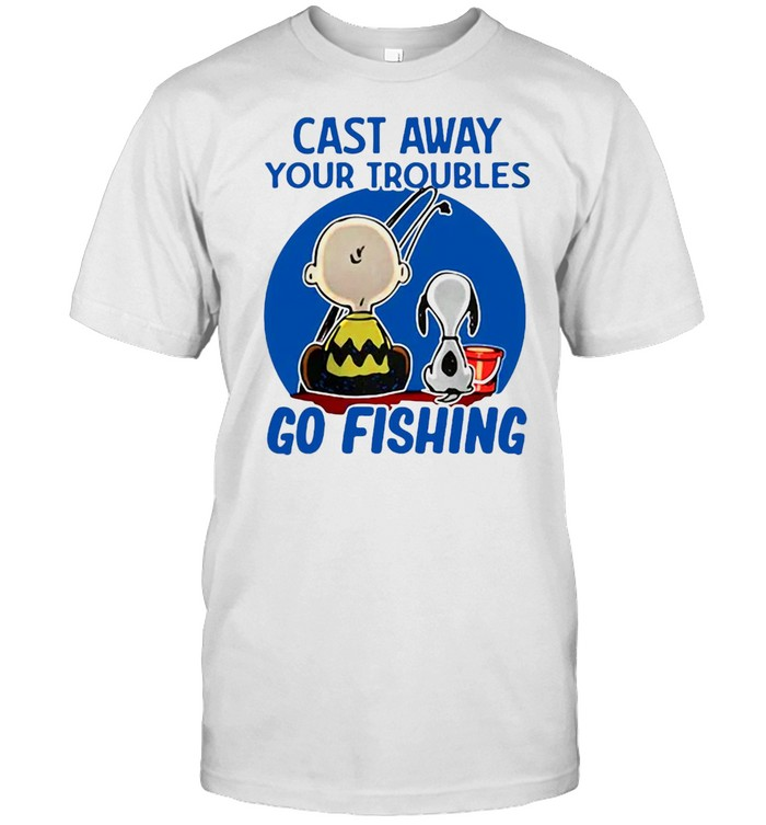 Snoopy Charlie Brown Cast Away Your Troubles Go Fishing T-shirt Classic Men's T-shirt