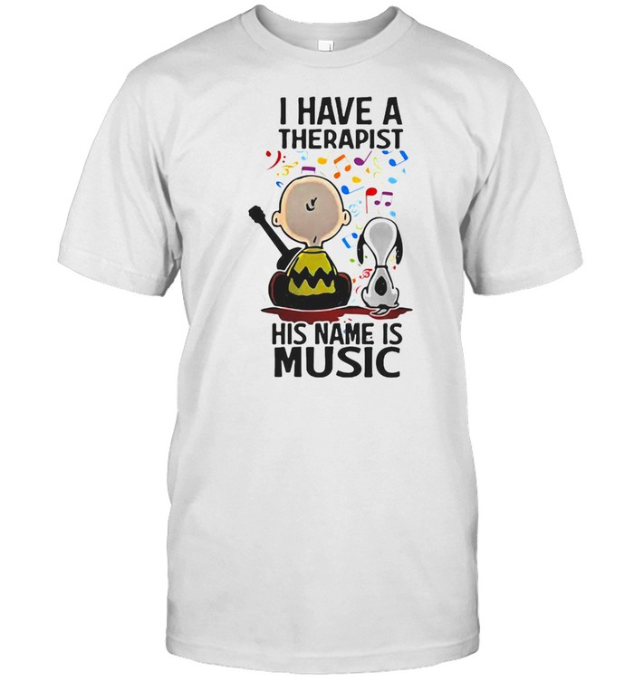 Snoopy Charlie Brown I Have A Therapist His Name Is Music T-shirt Classic Men's T-shirt