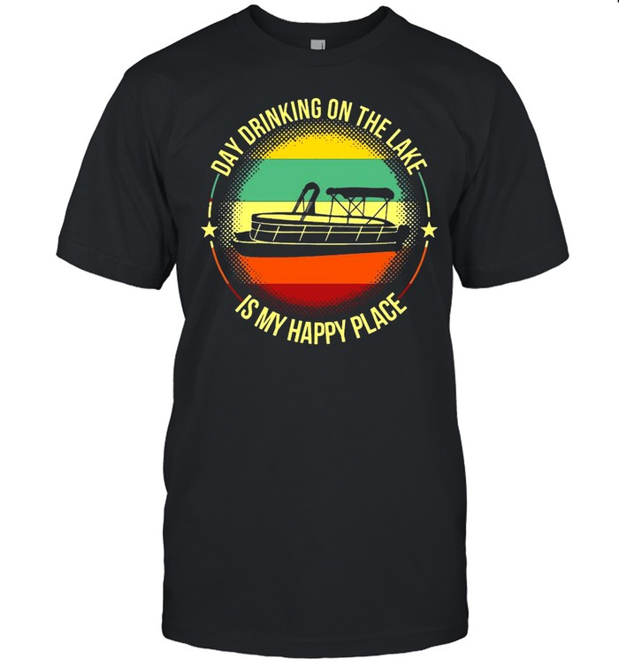 Boating Day Drinking On The Lake Is My Happy Place Vintage T-shirt Classic Men's T-shirt