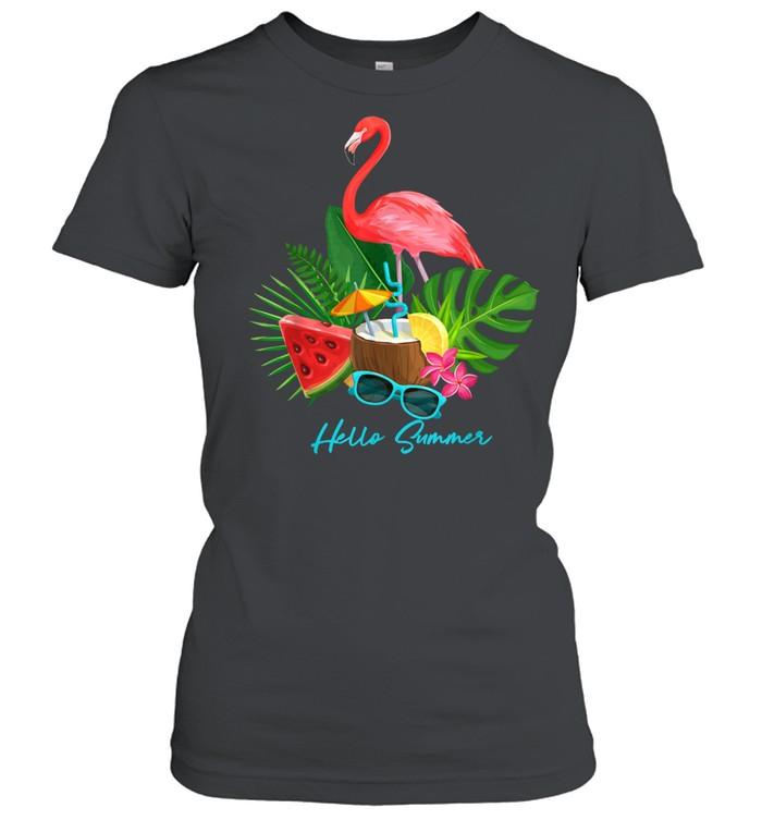 Hello Summer Vacation Tropical Flamingo shirt Classic Women's T-shirt