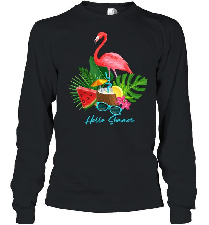 Hello Summer Vacation Tropical Flamingo shirt Long Sleeved T-shirt