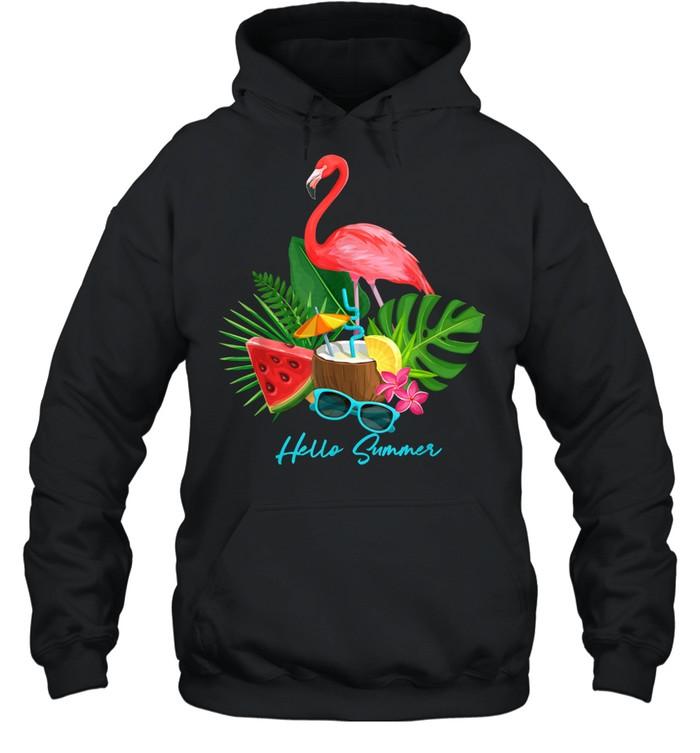 Hello Summer Vacation Tropical Flamingo shirt Unisex Hoodie