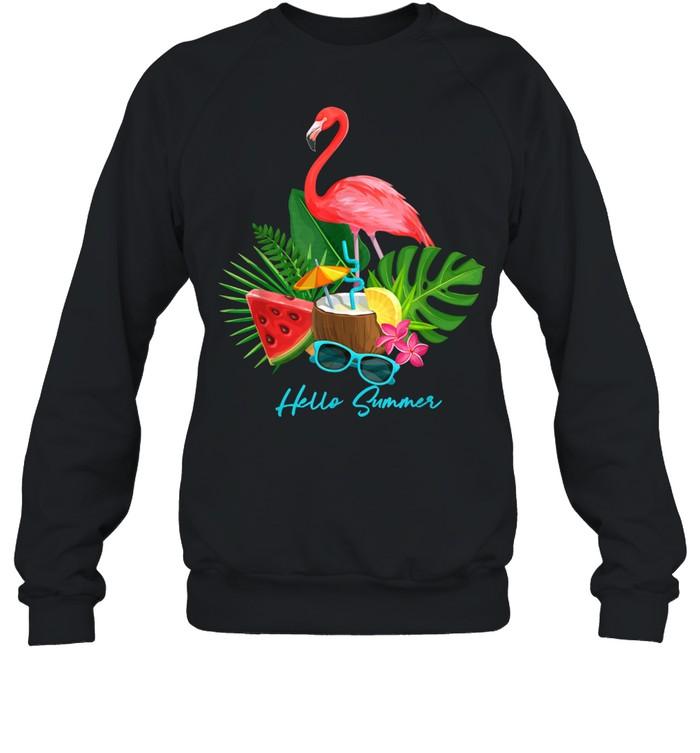 Hello Summer Vacation Tropical Flamingo shirt Unisex Sweatshirt