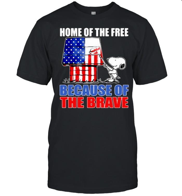 Home Of The Free Because Of The Brave Snoopy American Flag  Classic Men's T-shirt