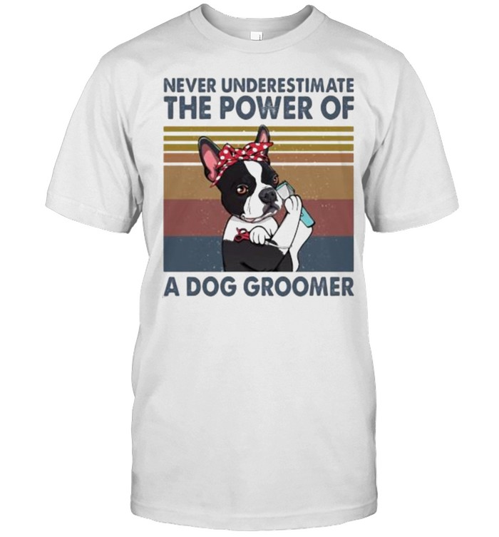 Never underestimate the power of a dog groomer vintage shirt Classic Men's T-shirt