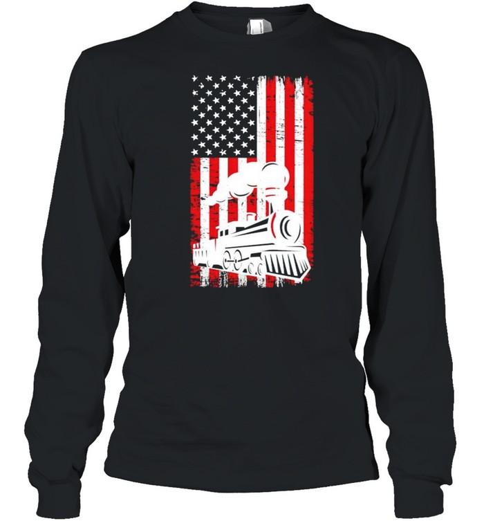 Train locomotive engine 4th july shirt Long Sleeved T-shirt