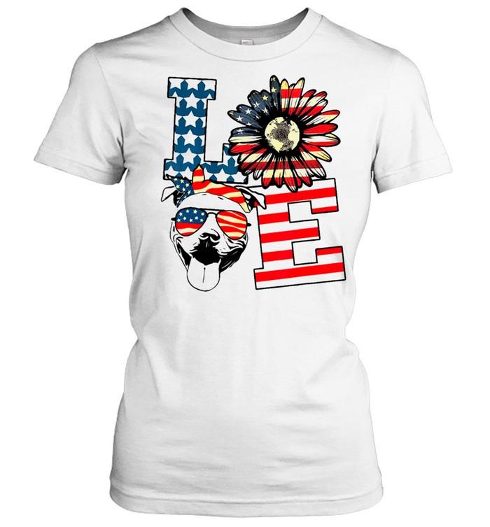 Love sunflower american flag shirt Classic Women's T-shirt