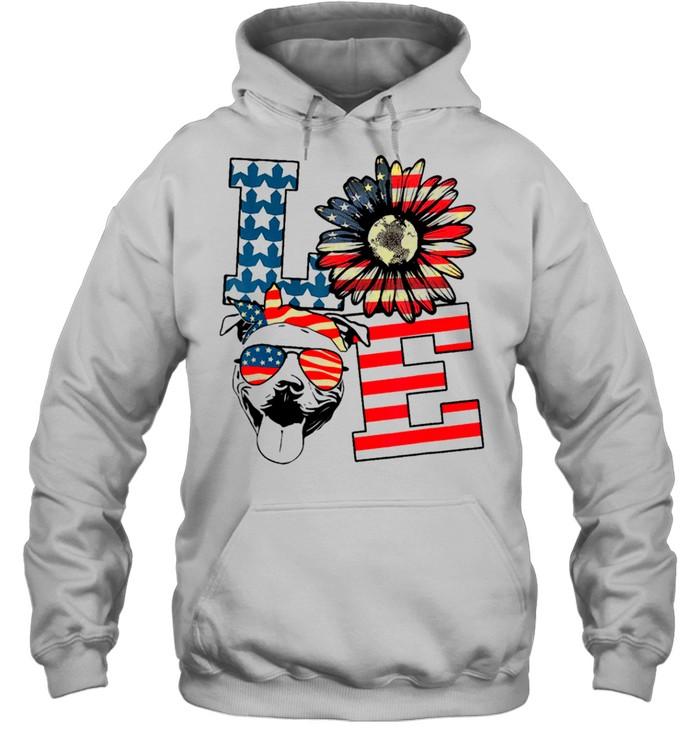 Love sunflower american flag shirt Unisex Hoodie