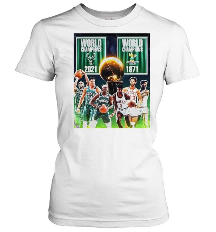 1971 2021 Milwaukee Bucks 2x World Champions NBA shirt Classic Women's T-shirt