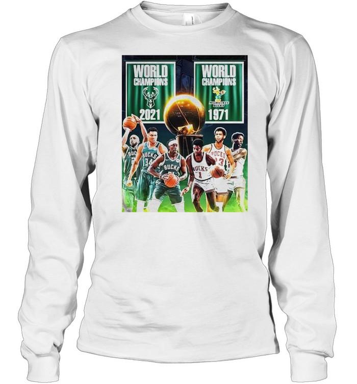 1971 2021 Milwaukee Bucks 2x World Champions NBA shirt Long Sleeved T-shirt