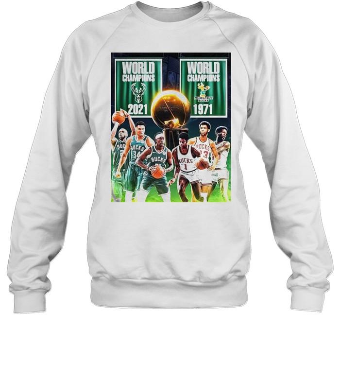 1971 2021 Milwaukee Bucks 2x World Champions NBA shirt Unisex Sweatshirt
