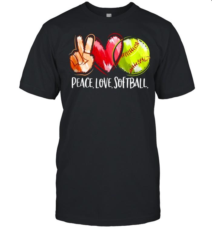 Peace Love Softball Heart T- Classic Men's T-shirt