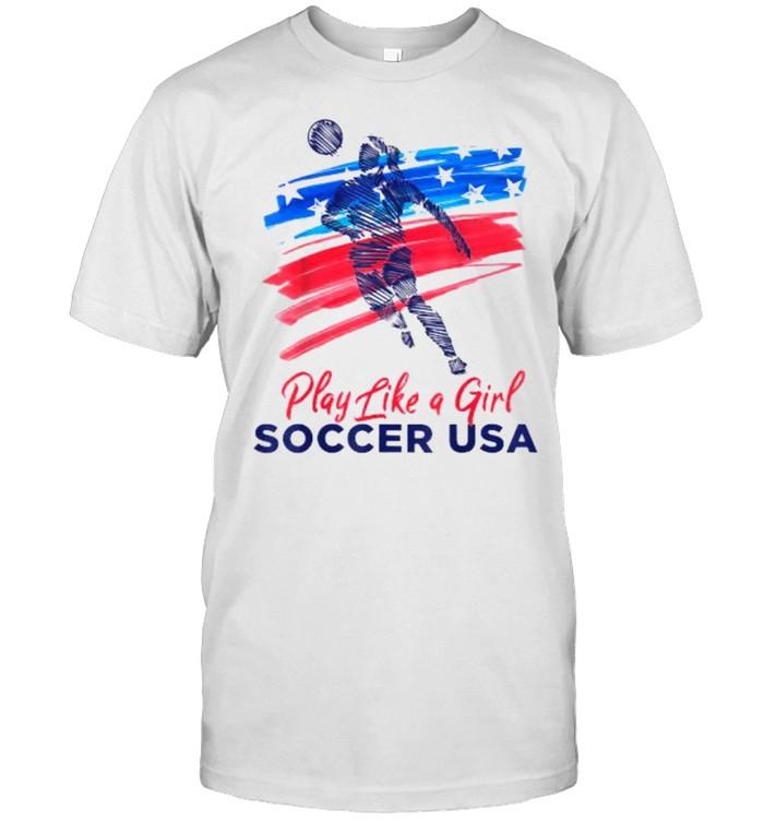 Play Like a Girl USA Soccer Team  USA Womens Football T- Classic Men's T-shirt