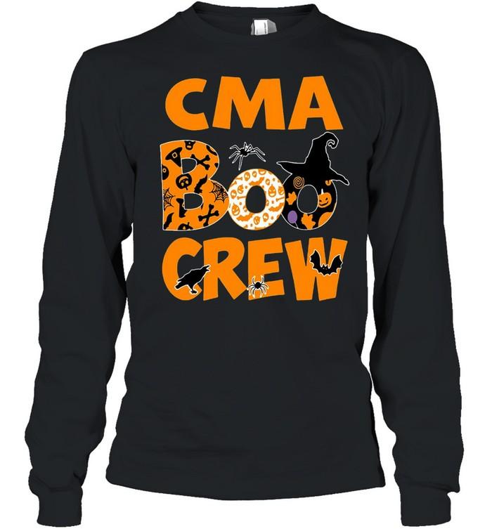 Halloween Nurse CMA Boo Crew Witch T-shirt Long Sleeved T-shirt