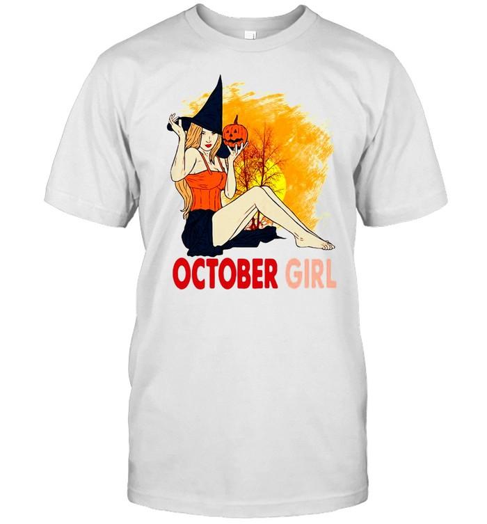 Halloween October Girl Pumpkin Witch Hat Sunset T-shirt Classic Men's T-shirt