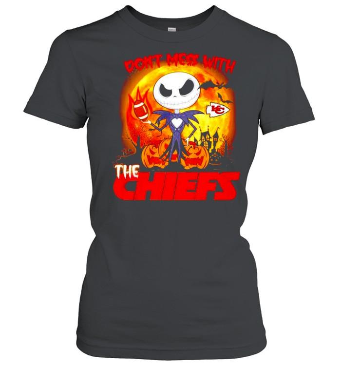 Jack Skellington don't mess with the Kansas City Chiefs Halloween shirt Classic Women's T-shirt
