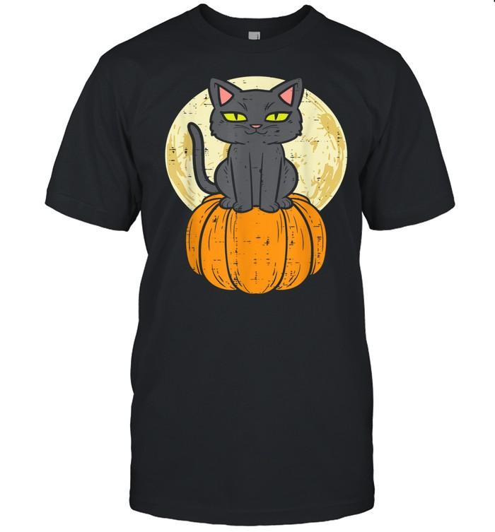 Black Cat On Pumpkin Full Moon Halloween Pet   Classic Men's T-shirt