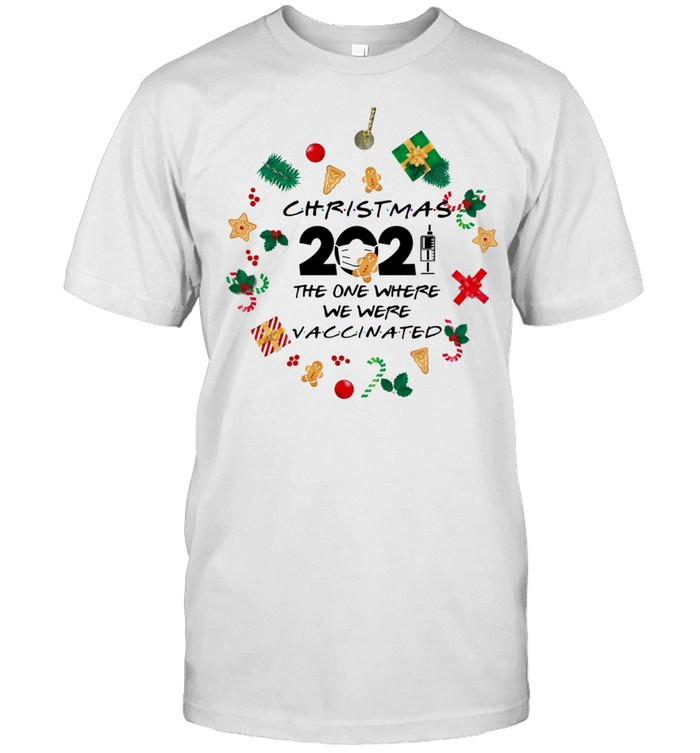 Friends 2021 Christmas ornament The One Where We Were Vaccinated Pandemic holiday christmas ornament shirt Classic Men's T-shirt