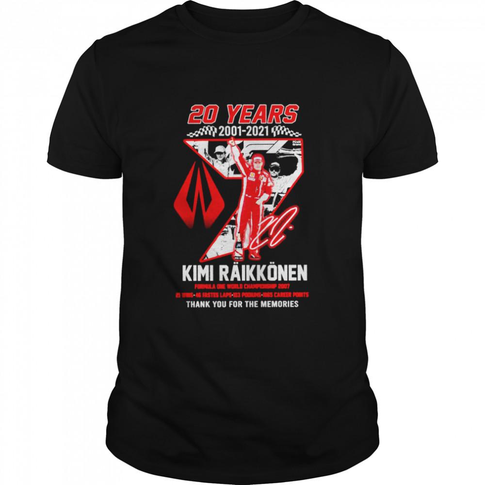 20 years 2001 2021 kimi raikkonen formula one championship 2007 thank you for the memories shirt Classic Men's T-shirt